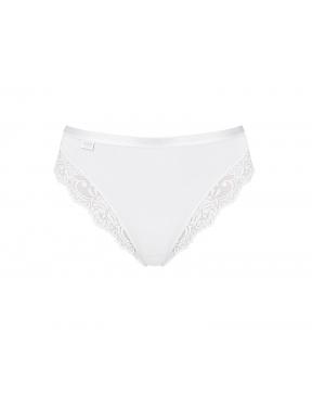 sloggi - ROMANCE TAI – białe - majtki o klasycznym kroju z dodatkiem koronki