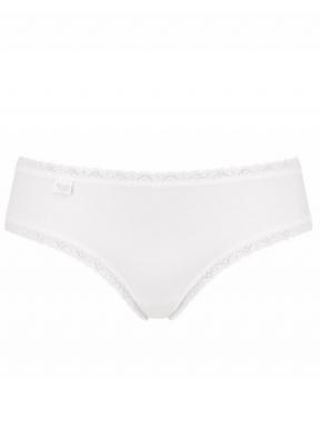 sloggi - 24/7 COTTON LACE HIPSTER – białe - bawełniane majtki biodrówki z dodatkiem koronki