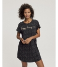 Triumph - Nightdresses NDK 01 X - czarna - bawełniana koszula nocna z krótkim rękawem