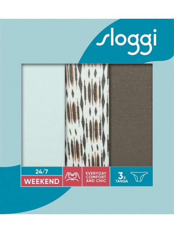 sloggi - 24/7 WEEKEND H TANGA C3P – błękit/khaki/mix - trójpak kolorowych, bawełnianych majtek typu tanga