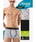 sloggi - MEN GO MOVEMBER HIPSTER C2P – białe/czarne - dwupak bawełnianych męskich szortów